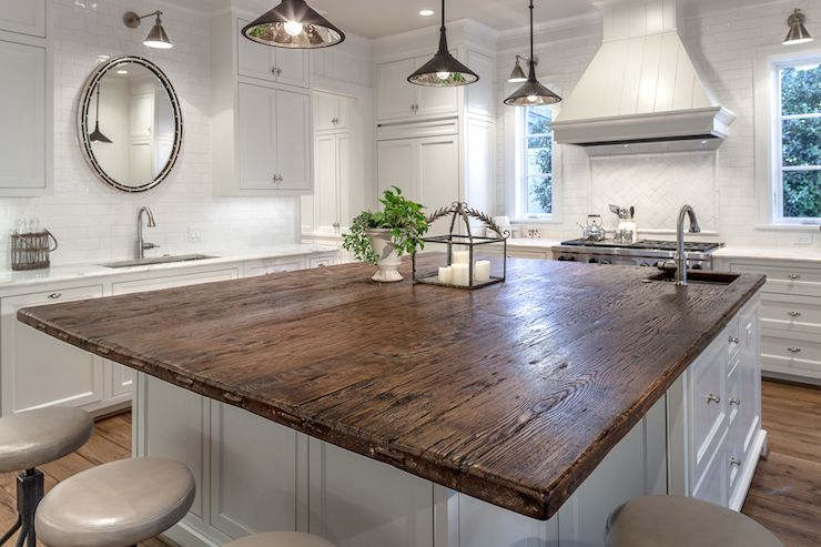 terrific wood countertop white kitchen island | White kitchen with oak counter | Frasier Homes | Kitchen ...