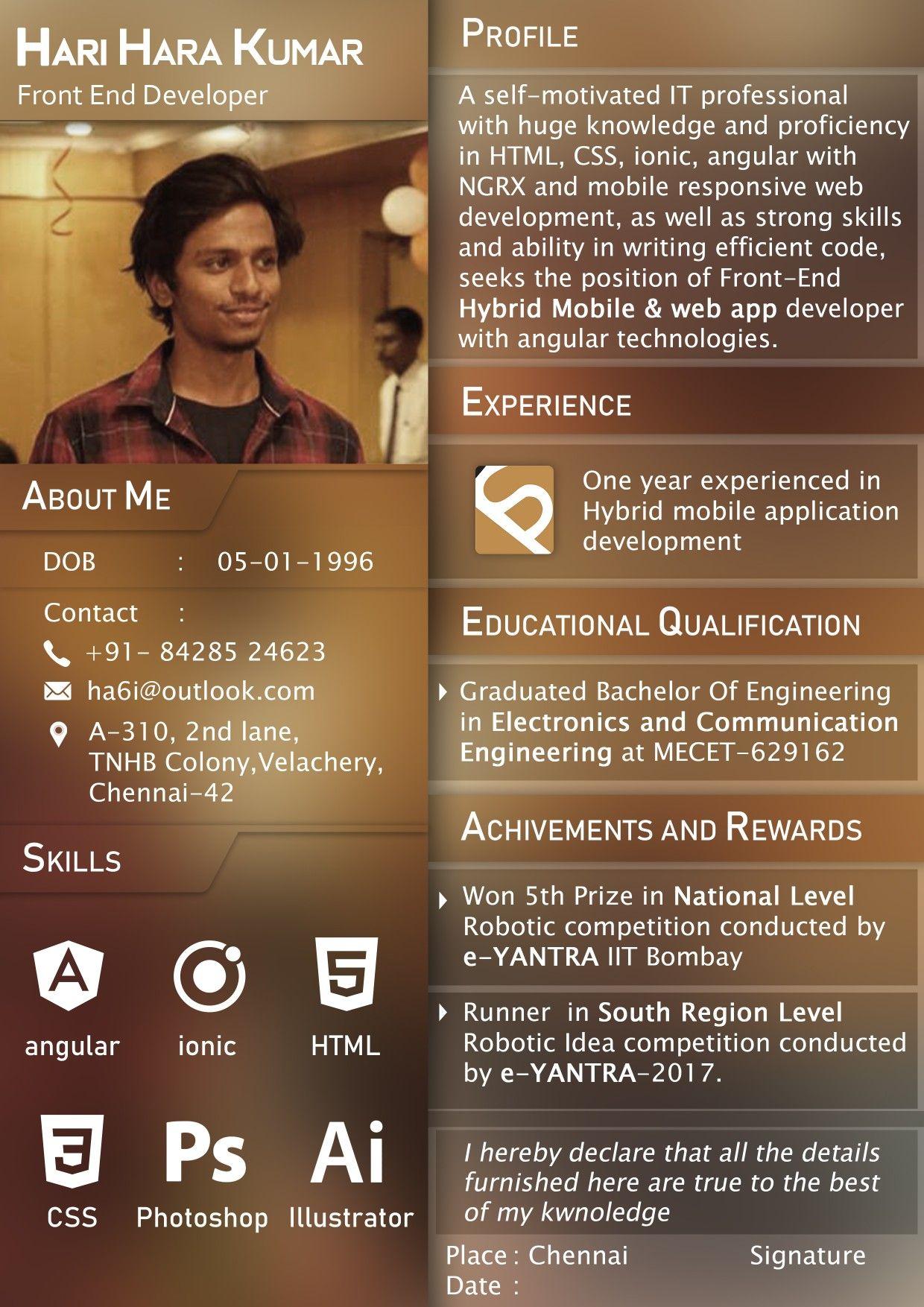 Front end developer resume creative resume app