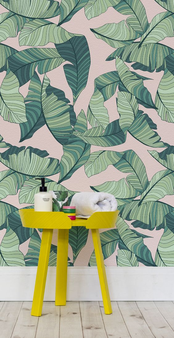 Pink And Green Tropical Leaf Wallpaper Colour Combos