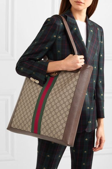 004f023566912c Gucci | Ophidia GG leather-trimmed printed coated-canvas tote |  NET-A-PORTER.COM