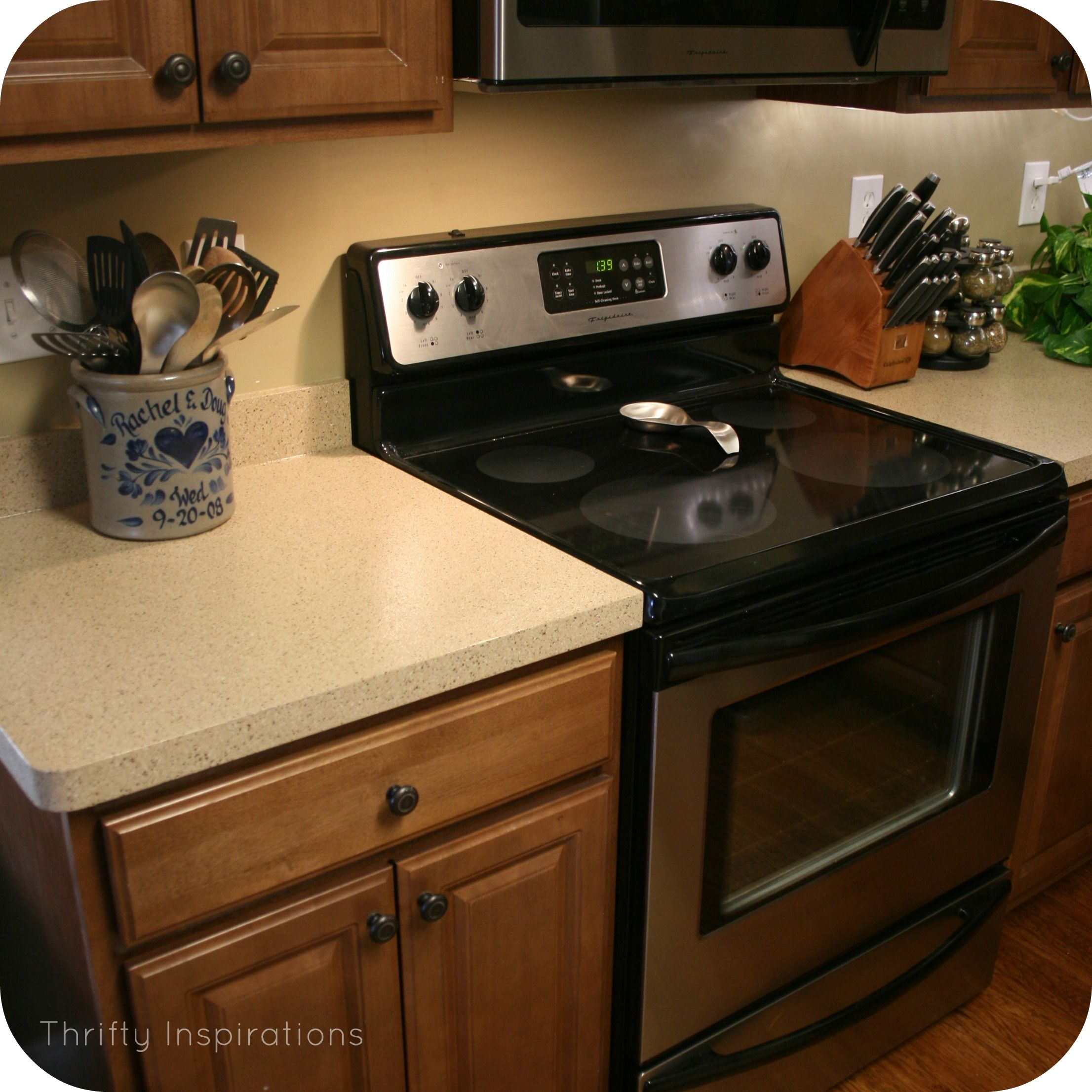 Painted Countertops With Rustoleum Product Countertop Transformations Kit In Desert Sand