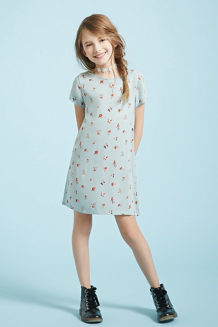 Girls floral tshirt dress kids styling with blue