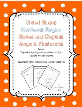 Free Us Northeast Region States Capitals Maps On Tpt Includes Study Guide Blank