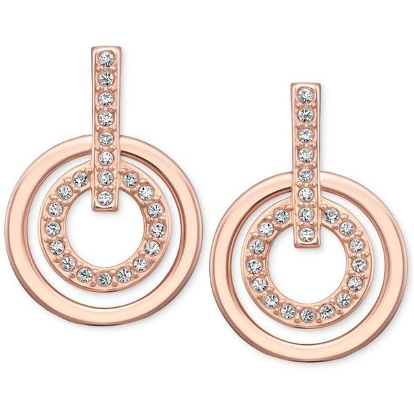 Swarovski Rose Gold-Tone Pave Crystal Circle Drop Earrings ($75) ❤ liked on Polyvore