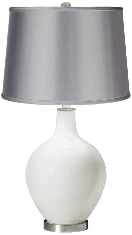 Light Grey Bedside Table: Winter White Satin Light Gray Shade Ovo Table Lamp In 2020
