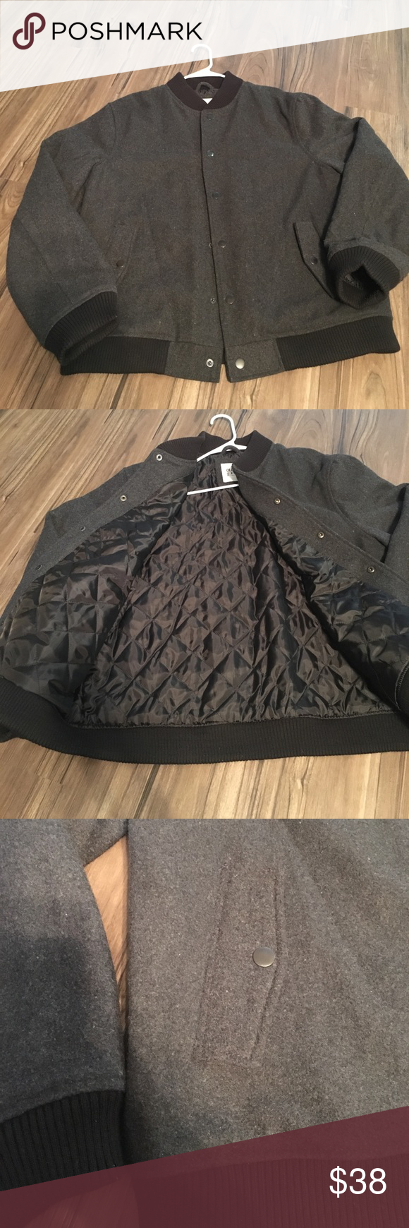 Bomber Jacket Charcoal Grey wool bomber jacket from old navy with Black around the wrists, collar and bottom of jacket. Buttons up the front. Inside lining black. Old Navy Jackets & Coats Bomber & Varsity