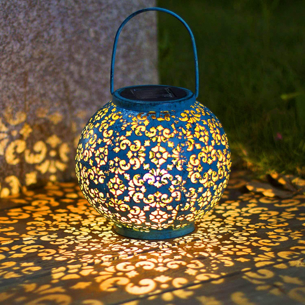 Solar Big Lantern Hanging Garden Outdoor Lights Metal Waterproof Led Table Lamp Decorative In 2020 Solar Lights Garden Outdoor Hanging Lights Solar Hanging Lanterns