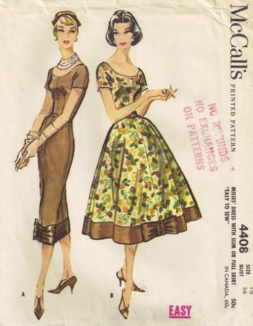 McCall's 4408 vintage sewing pattern for misses'dress, 1957