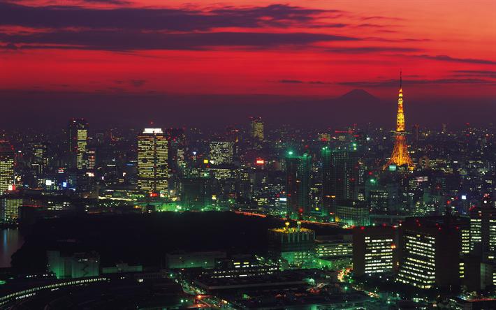 Download Wallpapers Tokyo 4k Sunset Tokyo Tower Modern Buildings Japan Asia Besthqwallpapers Com Torre De Tokio Fachadas Edificios Edificios Modernos