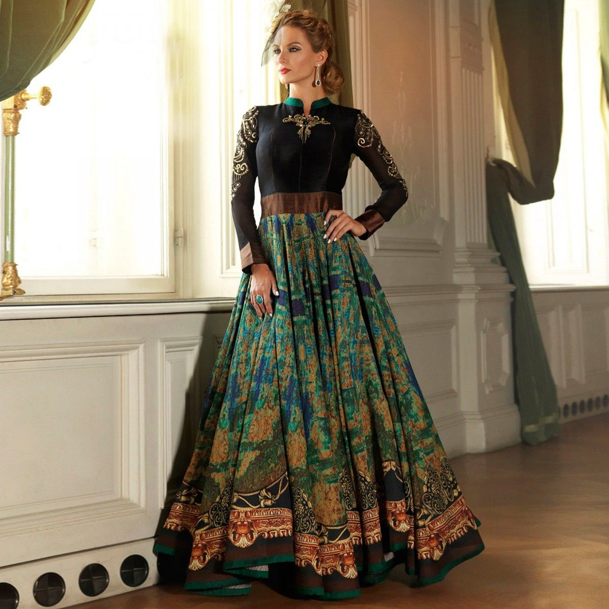Buy Black - Green Reception Wear Designer Suit for womens online ...