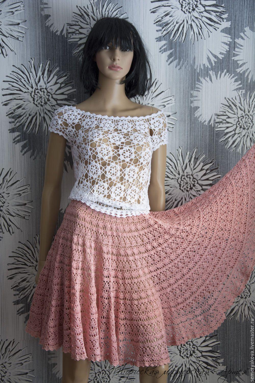 Платье крючком с юбкой солнце