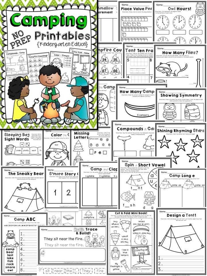 camping kindergarten math amp literacy printables