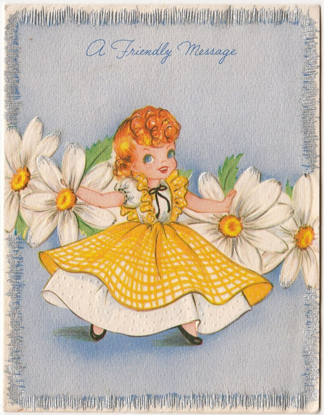 Vintage Greeting Card Cute Girl Daisies Forget Me Not 1950s A237