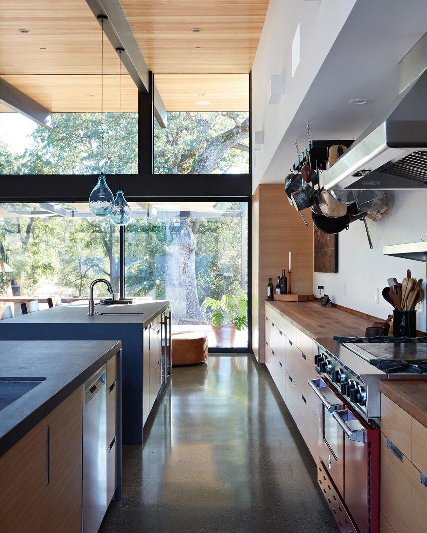 Shelf across kitchen window  northern california home by klopf architecture designed to keep a