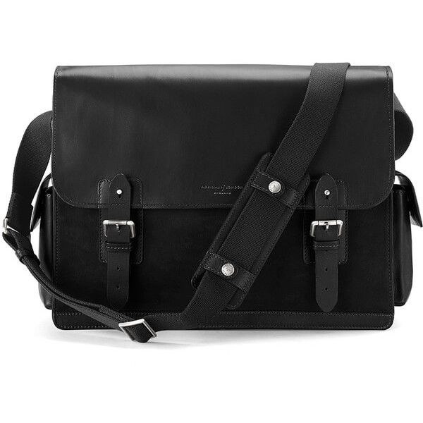 Aspinal of London Men's Large Shadow Messenger - Black (835 AUD) ❤ liked on Polyvore featuring men's fashion, men's bags, men's messenger bags, mens leather laptop messenger bag, mens courier bag, mens laptop messenger bag, mens leather messenger bag and mens messenger bag