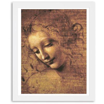"Mercury Row 'Female Head' by Leonardo Da Vinci Framed Painting Print Size: 20"" H x 17"" W"