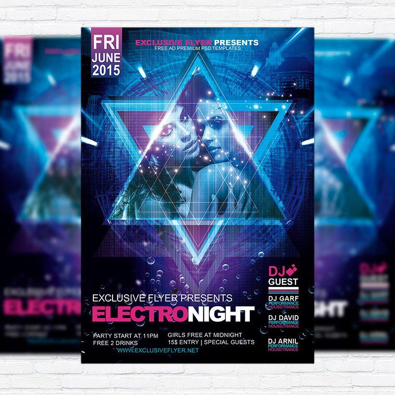 Electro Night u2013 Premium Flyer Template + Facebook Cover http - electro flyer