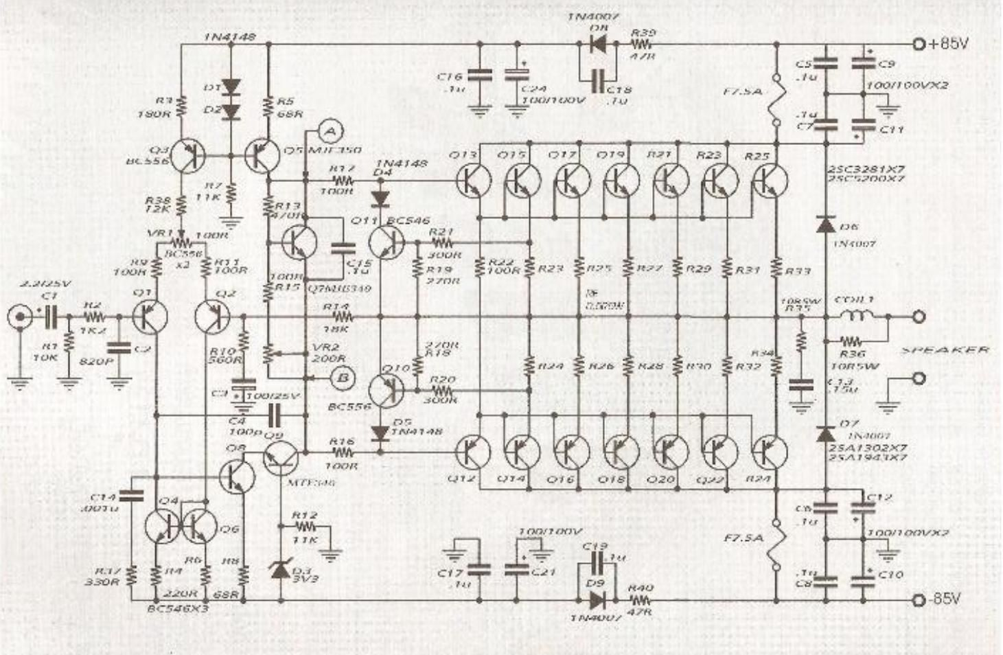 2000w audio amplifier circuit diagram