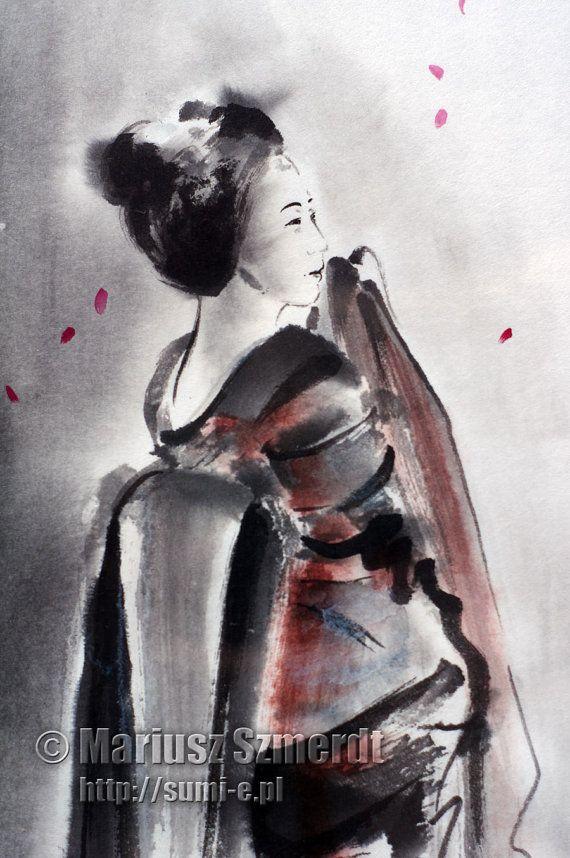 Pintura japonesa creaciones Geisha muñeca geisha regalo del verano kimono japonés decoración asiática sumi-e de regalo de boda asiático ropa