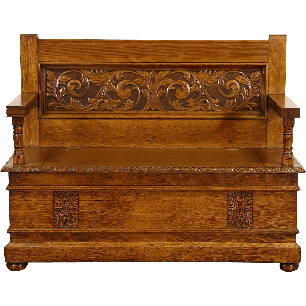 Incredible Carved Oak 1890S Antique Hall Bench Lift Seat Storage From Spiritservingveterans Wood Chair Design Ideas Spiritservingveteransorg