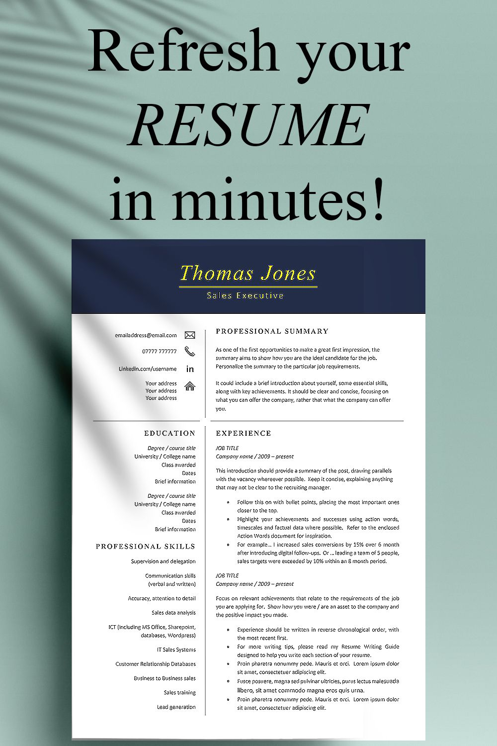Professional Resume Template Instant Download, Modern