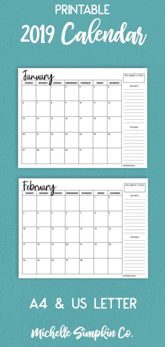 2019 Calendar, 2019 Monthly Calendar, Printable Calendar, 2019