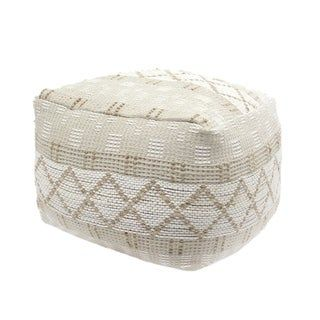 Nessan Large Square Casual Hemp Pouf By Christopher Knight