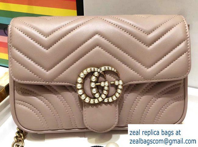 c1e2c78402cc7f Gucci Pearls GG Marmont Matelasse Chevron Mini Chain Shoulder Belt Bag  446744/476809 Nude 2017
