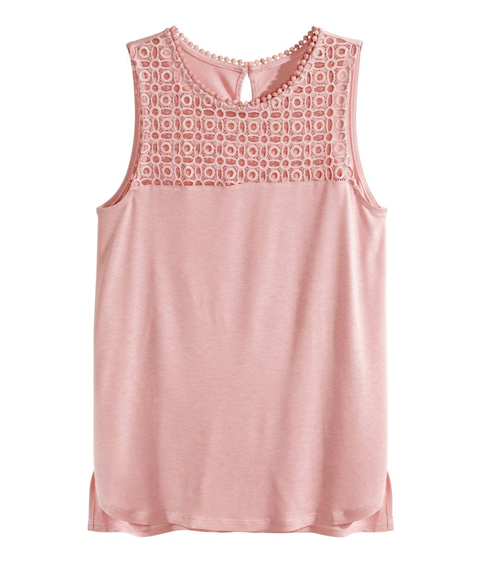 3771e4a8f2162 Pink sleeveless top with eyelet lace yoke.