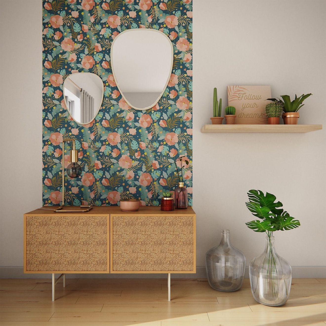Papier peint fleuri : la nature et les fleurs sinvitent sur les murs
