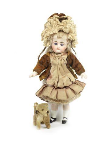"Bonhams - 7"" Rare Simon & Halbig 949 all-bisque doll under dome"