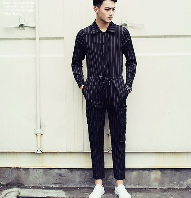 Mens Jumpsuit Black And White Striped Dress Pants 2016 Brand New Designer  Korean Fashion Overalls Casual