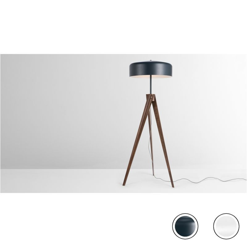 Made Navy Blue Dark Wood Floor Lamp Floor Lamp Blue Floor