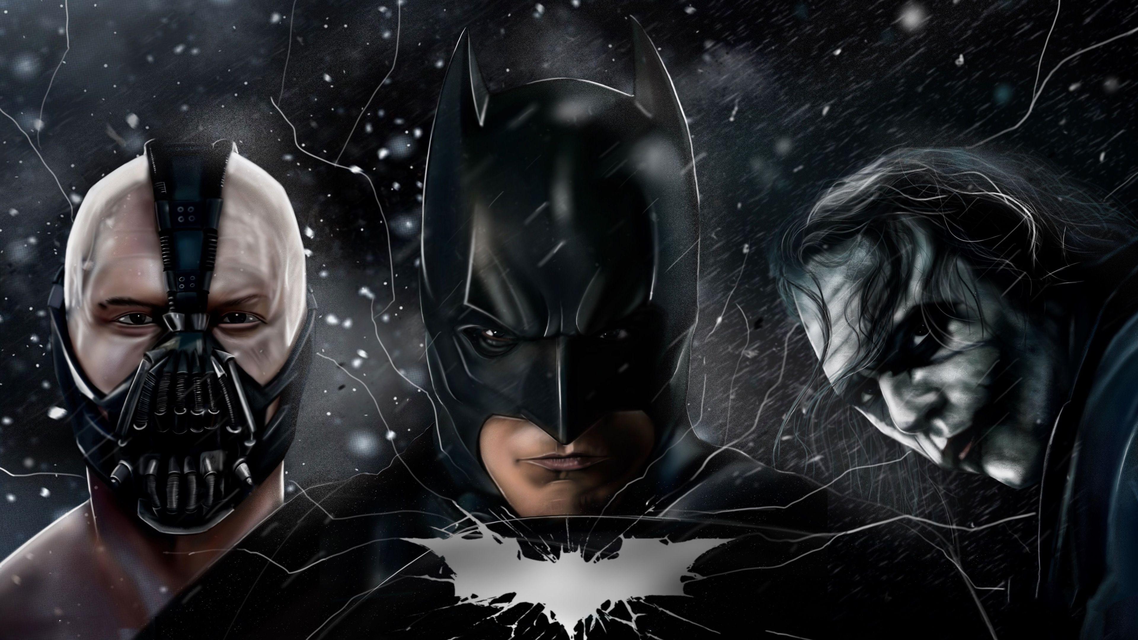The Dark Knight Batman Joker Bane 5k Supervillain Wallpapers Superheroes Wallpapers Joker Wallpapers Dark Knight Wallpaper Batman Wallpaper Joker Wallpapers Batman dark knight wallpaper hd 1080p