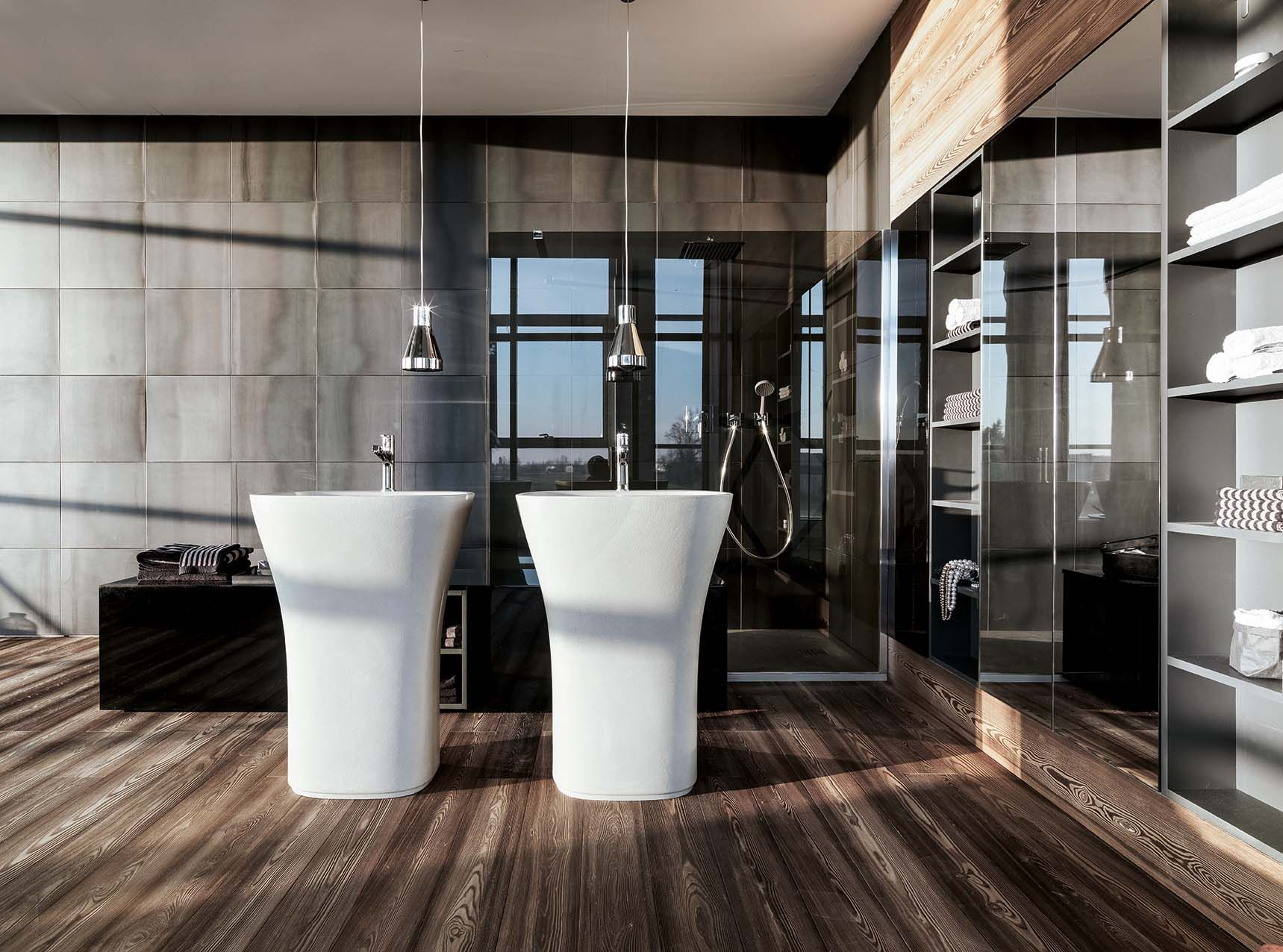 Atelier Via Veneto by Falper Design. Freestanding Scoop washbasins.