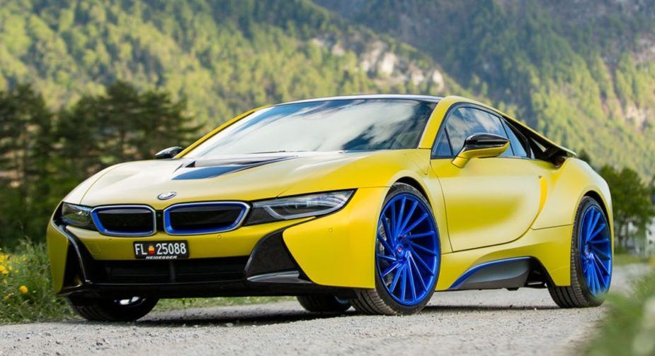 Cool Bmw I8 With Matte Yellow On Blue Wheels Bmw Pinterest Bmw