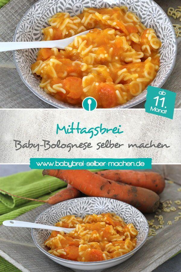 Baby-Bolognese: Karotten-Rindfleischbrei mit Buchstabennudeln – Mittagsbrei Rezept #baby