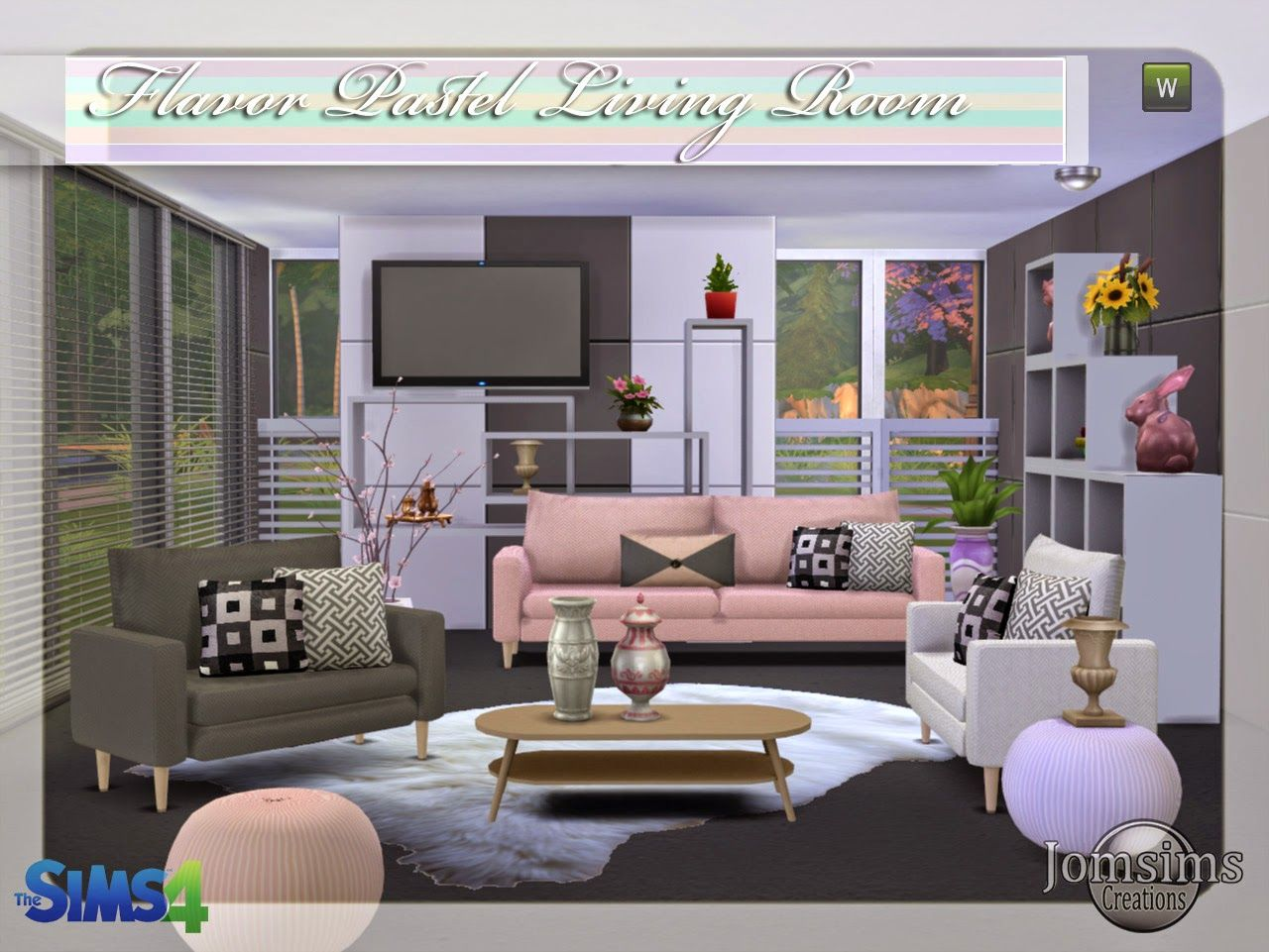 New Living Room Jomsimscreations Blog New Living Room Sims 4 Flavor Pastel Click