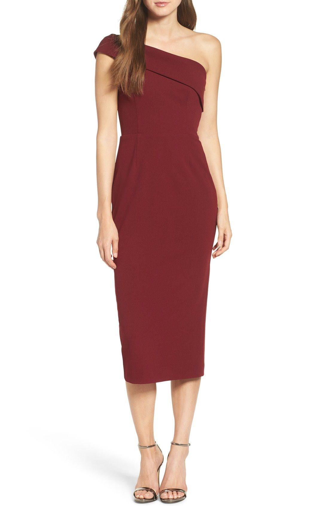 Nordstrom dresses wedding guest  Katie May OneShoulder Midi Sheath Dress available at Nordstrom