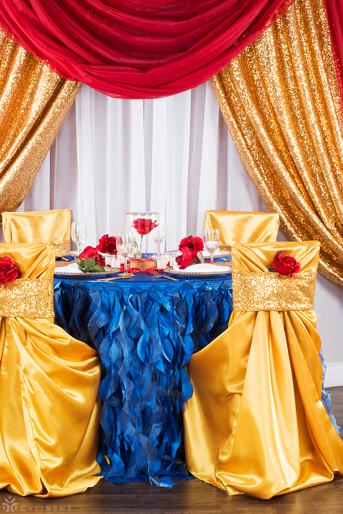 Beauty And The Beast Inspired Wedding Sequined Tablescape