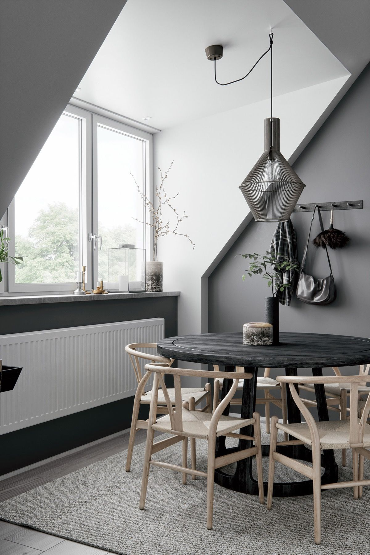 2 Gorgeous Attic Apartments That Use Grey As Base | Dining ...