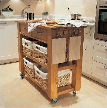 Mueble con rueditas para cocina con canastos Cocinas Pinterest - muebles para cocina de madera