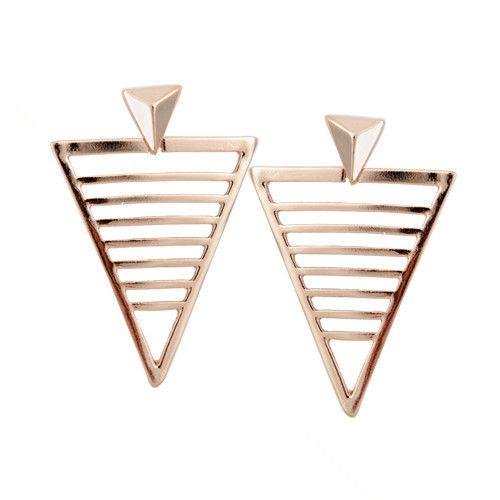 2016 새로운 패션 문 귀걸이 골드 도금 중공 삼각형 합금 스터드 귀걸이 고급 보석