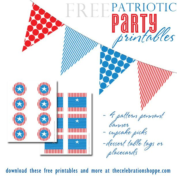 Free Patriotic Party Printables from thecelebrationshoppe.com ~ red white and blue banner, cupcake picks and dessert tags ~ ENJOY!