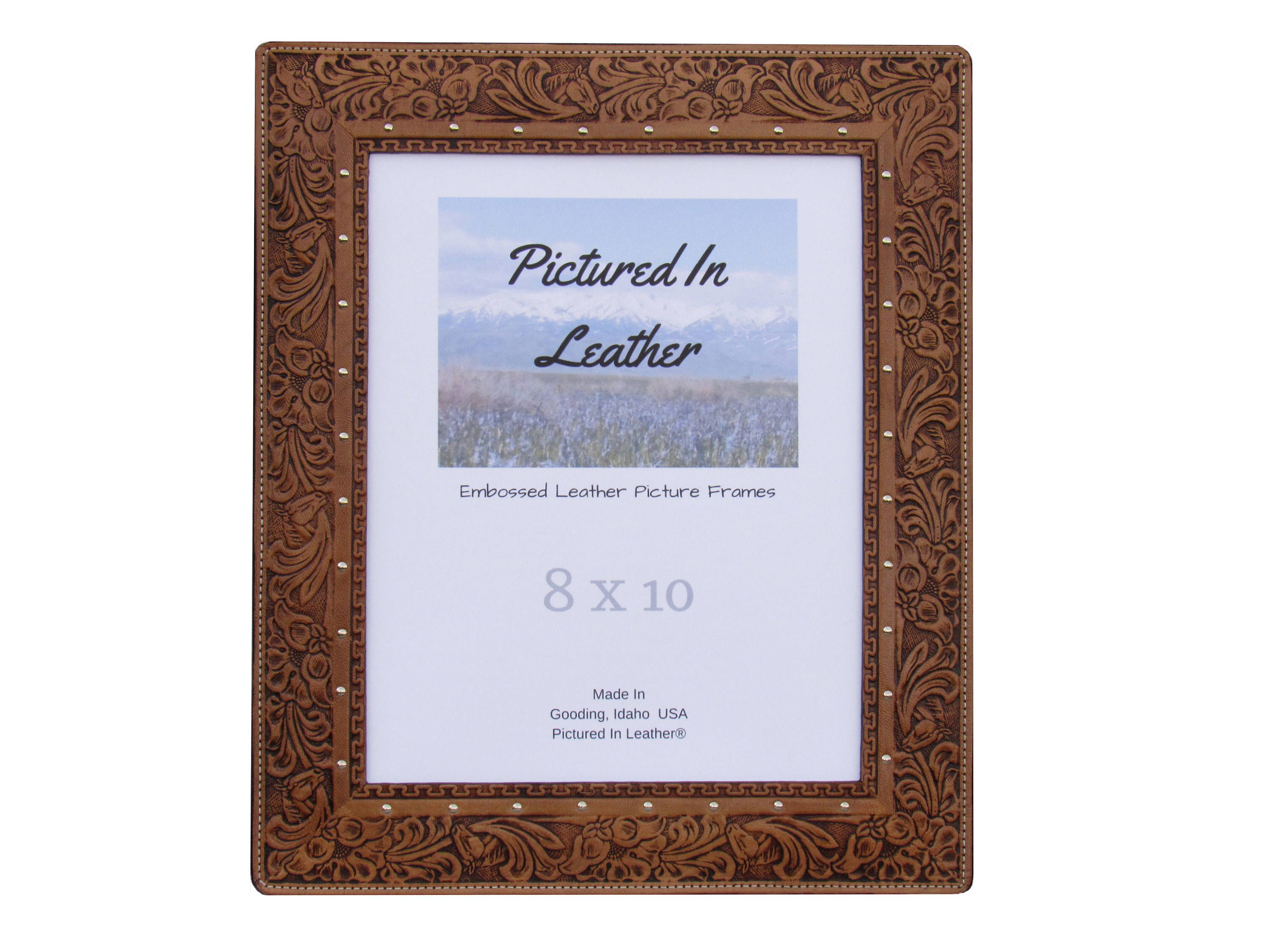 $62 8X10 Leather Picture Frame, Embossed With A Horse And