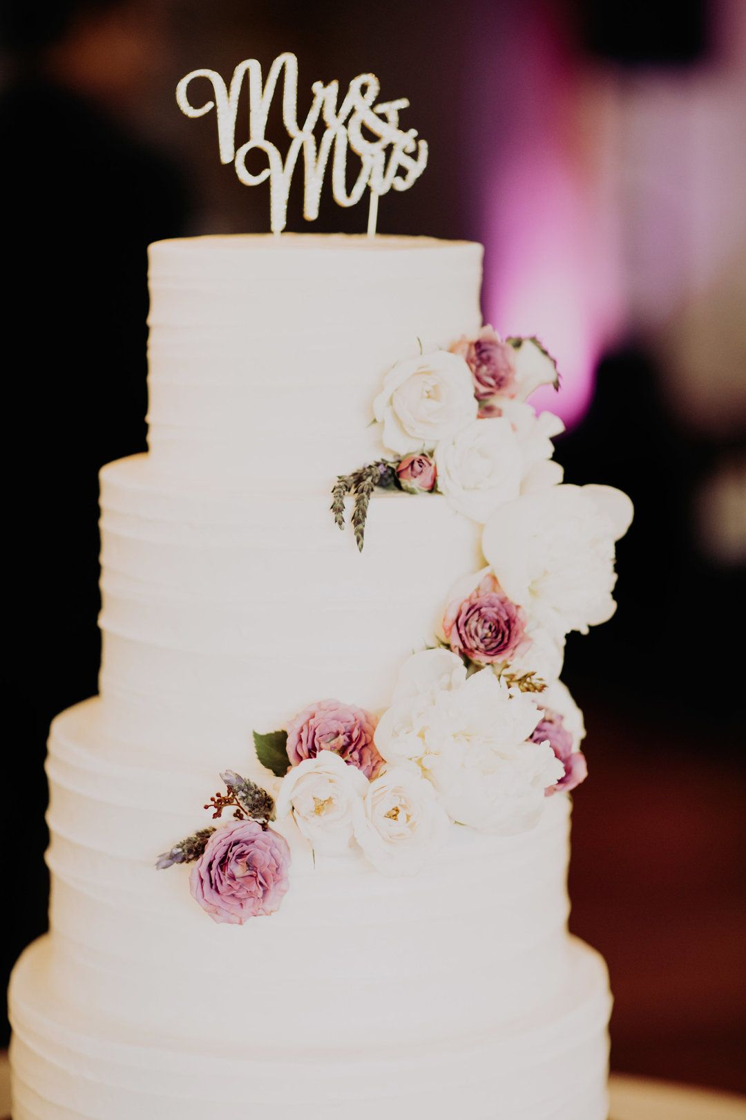 Wedding cake ideas, cascading white and pink flowers, Mr. & Mrs. cake topper, romantic wedding, pin to your own inspiration board // Addison Jones Photography