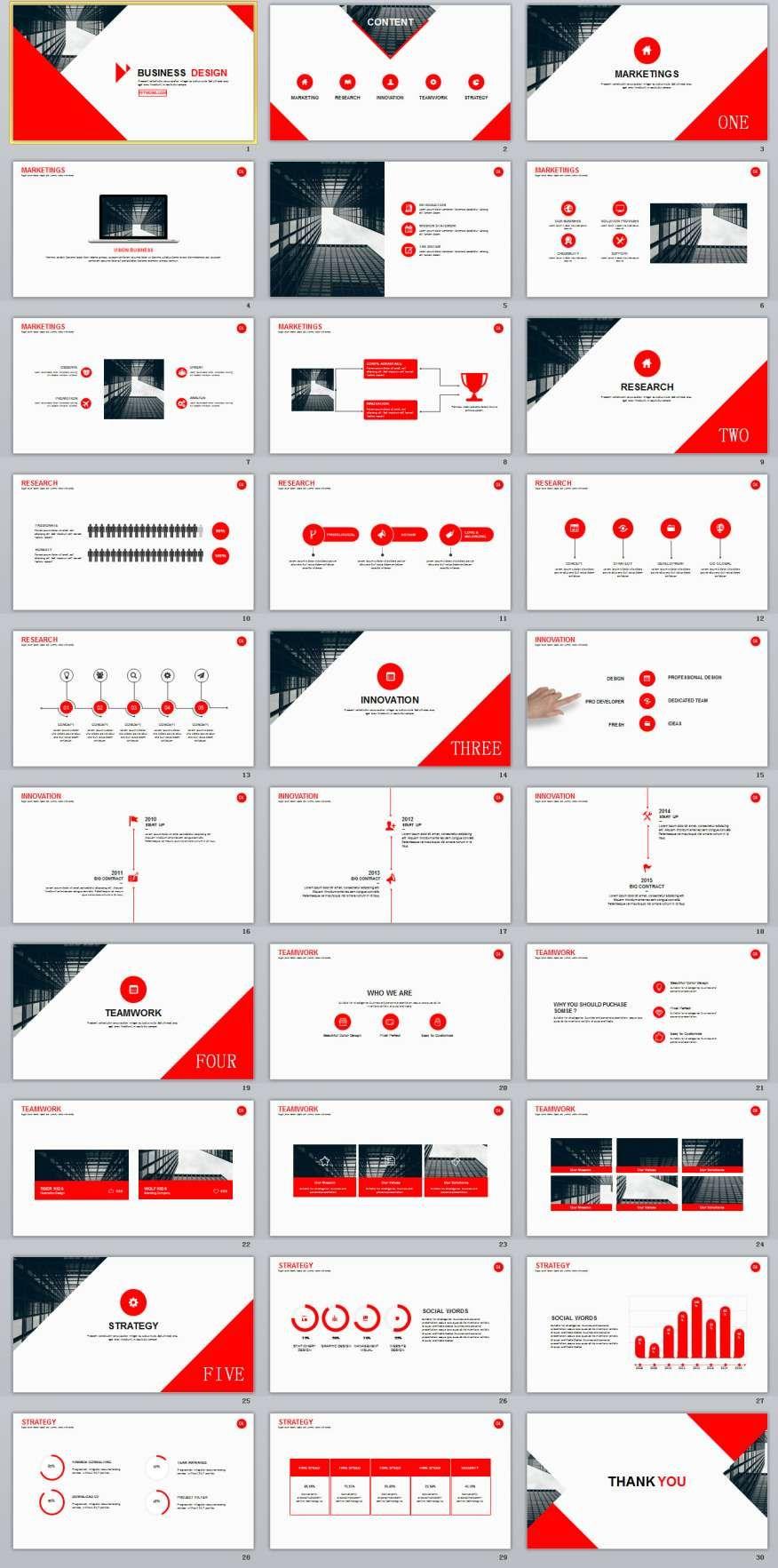 30 red business multipurpose powerpoint templates branding