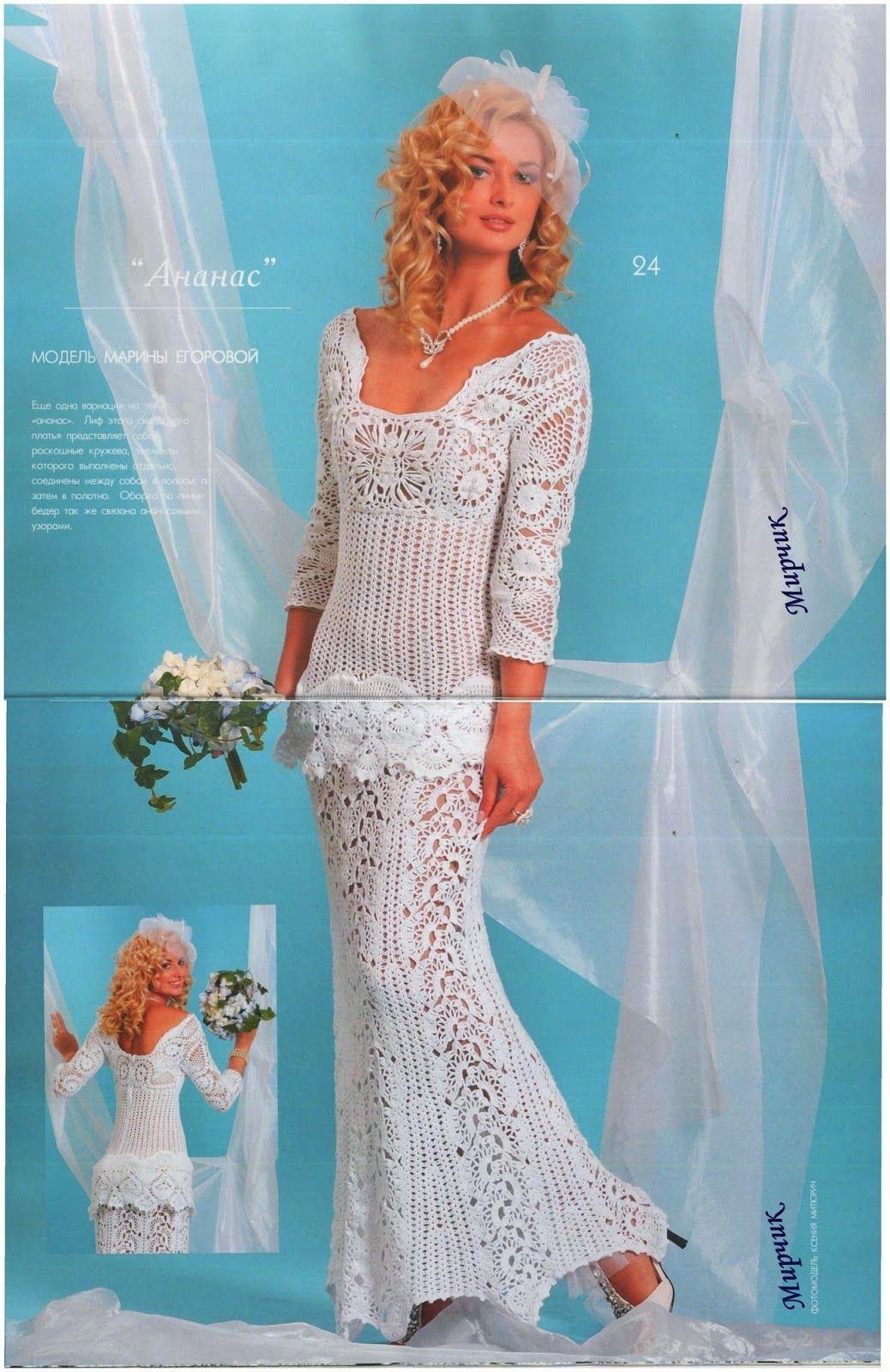 Eu Amo Artesanato: Vestido de noiva de crochê | Crochet | Pinterest