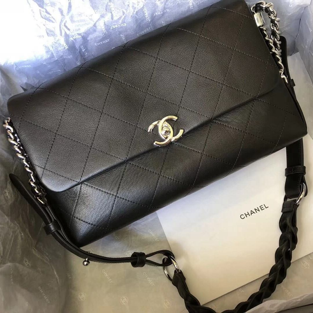 ccd405c96f20 Chanel Black Calfskin Braided with Style Small Flap Bag A57116 2018 ...