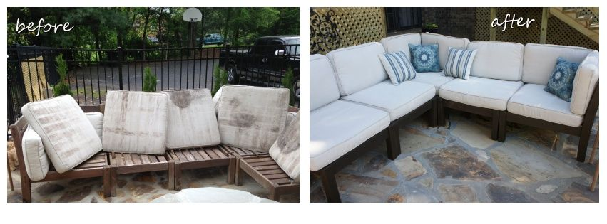 Nice Cleaning Outdoor Cushions Before And After